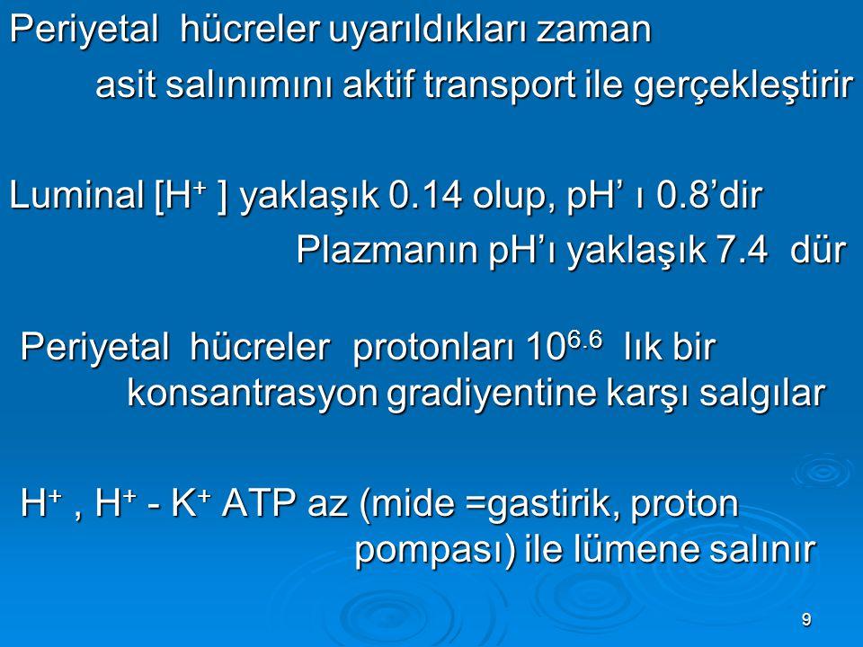 Periyetal hücreler uyarıldıkları zaman asit salınımını aktif transport ile gerçekleştirir Luminal [H+ ] yaklaşık 0.14 olup, pH' ı 0.8'dir Plazmanın pH'ı yaklaşık 7.4 dür Periyetal hücreler protonları 106.6 lık bir konsantrasyon gradiyentine karşı salgılar H+ , H+ - K+ ATP az (mide =gastirik, proton pompası) ile lümene salınır